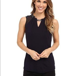 Adrianna Papell Chain Keyhole Mesh Sleevless Top